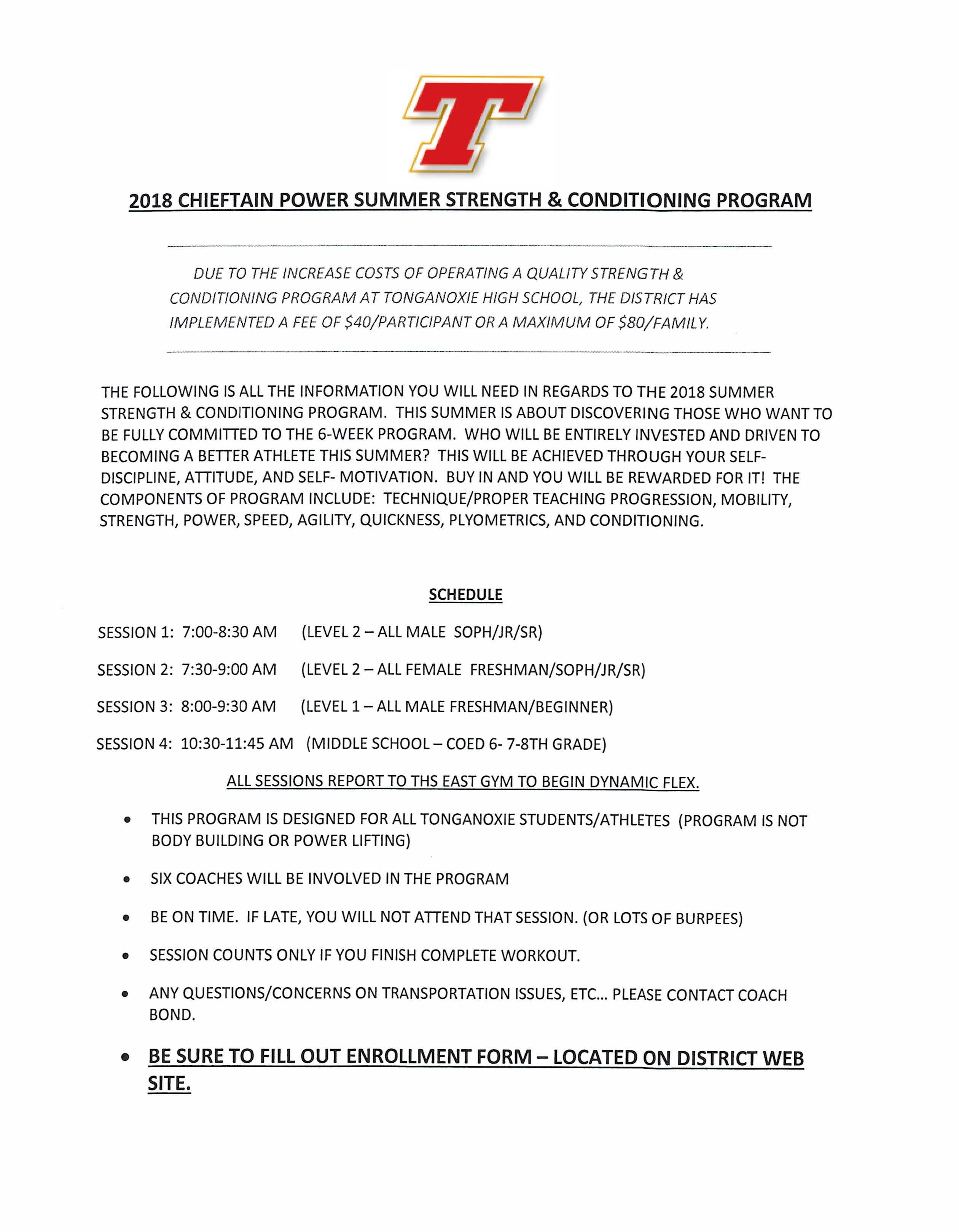 Tonganoxie USD 464 - Strength Training - Summer 2018
